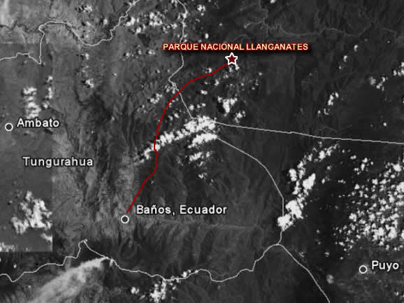 Map of Llanganates National Park Ecuador