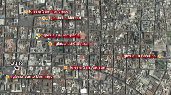Quito Colonial by night Tour, route map